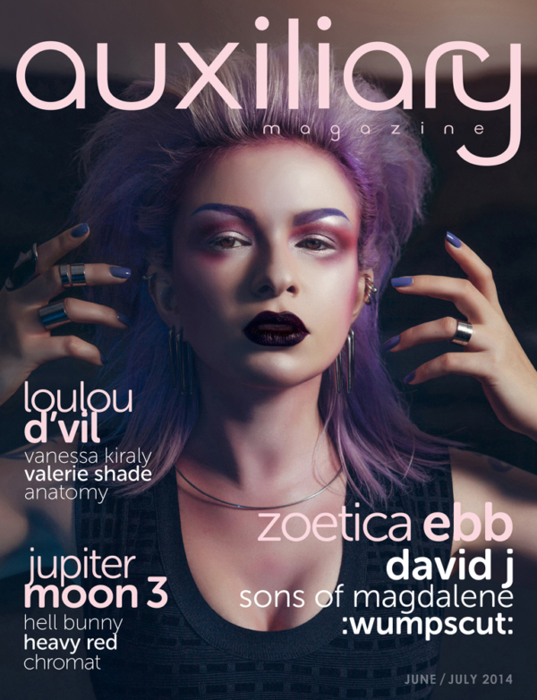 Zoetica Ebb in the cover of Auxiliary Magazine, Issue 34.